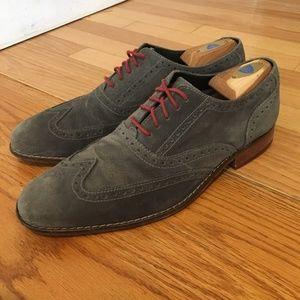 Cole Haan Mens Oxford Wingtip Suede Dress Shoes